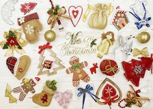 Christmas collage with holiday attributes Royalty Free Stock Photo