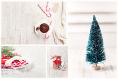 Christmas collage - hot chocolate, artifical christmas tree, candy cane Stock Photo