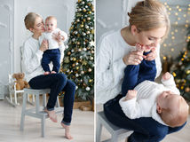 Christmas collage of mother and child Royalty Free Stock Photo