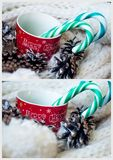 Christmas. Collage with a mug and candy Royalty Free Stock Image