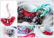 Christmas. Collage with a mug and candy Royalty Free Stock Photos