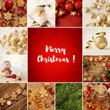 Christmas collage. Christmas ornaments, gingerbread cookies and decorations Royalty Free Stock Image