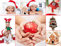 Christmas collage. With people and object details Stock Photos