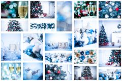 Christmas collage. With photos of spruce, champagne and decorations Stock Image