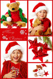 Christmas collage in red. Christmas collage with child,teddy bear,and decoration Stock Image