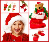 Christmas collage in red. Christmas collage with child,teddy bear,and decoration Royalty Free Stock Images