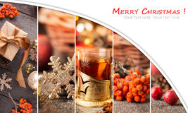 Christmas collage. With red and golden ornaments, fir-cones and grog on a wooden table Stock Photography