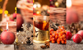 Christmas collage. With red and golden ornaments, fir-cones and grog on a wooden table Royalty Free Stock Images