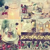 Christmas collage with retro style home decorations with color e. Beautiful Christmas collage with retro style home decorations with moody lights and glass domes Royalty Free Stock Photos