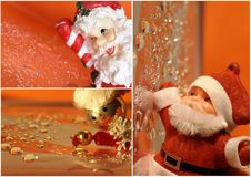 Christmas collage with santa claus Royalty Free Stock Photos