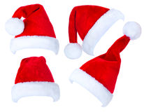 Christmas collage of Santa Claus hats. Christmas collage of red Santa Claus hats Royalty Free Stock Images
