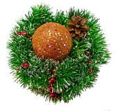 Christmas collage shiny Golden ball on Christmas tinsel royalty free stock photography