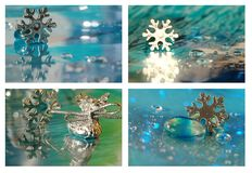 Christmas collage with silver star Royalty Free Stock Photo