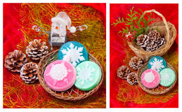 Christmas   collage with snowflakes - soap Stock Image
