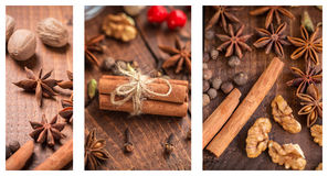 Christmas collage. With spices for mulled wine and nuts Royalty Free Stock Image