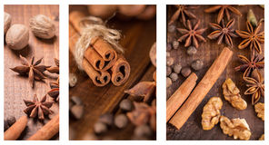 Christmas collage. With spices for mulled wine and nuts Royalty Free Stock Photos