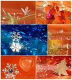 Christmas collage with star, flower, tree, Royalty Free Stock Photo