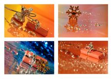 Christmas collage with star and a gift Royalty Free Stock Photo