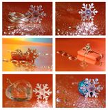 Christmas collage with star, gift, ring and Stock Images