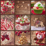 Christmas collage. Collage of christmas sweets on a wooden background Stock Photos