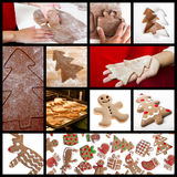 Christmas collage. Christmas theme collage with picture of homemade gingerbread cookies Stock Photos