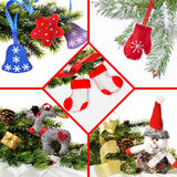 Christmas collage of toys handmade from felt, fleece Royalty Free Stock Photos