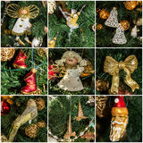 Christmas collage tree decoration New Year Royalty Free Stock Image