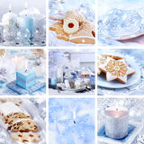 Christmas collage in white Royalty Free Stock Photos