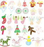 Christmas Collection. Varieties of objects found on Christmas themed festive, objects are colored and also outlined, suitable for many different purposes of vector illustration