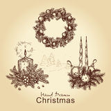 Christmas collection. Hand drawn vintage collection with christmas wreath, balls, tree and candles, for xmas design Stock Image