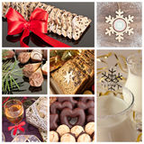 Christmas collection. Details of cakes and beverages Royalty Free Stock Image