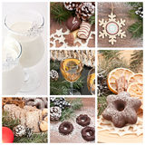 Christmas collection. Details of cakes and beverages royalty free stock photos