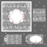 Christmas collection. Card, pattern, tags Royalty Free Illustration