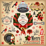 Christmas collection. Of calligraphic and typographic elements with frames, vintage labels, ribbons, stickers, Santa Clous, birdsand balls. Set  for design Royalty Free Stock Photography