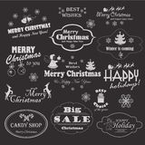 Christmas collection of calligraphic and typographic design symbols, elements and inscriptions Stock Photos
