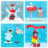 Christmas collection cards. With funny animals and cute child. EPS 10 Stock Images