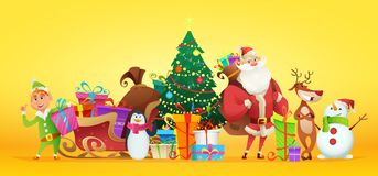 Christmas collection of characters. Santa and other New Year characters around the Christmas tree. Vector illustration vector illustration