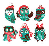 Christmas collection with cute little owls in knitted hats Stock Photo