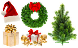 Christmas collection decorations ornaments christmas tree Stock Images