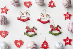 Christmas Ornaments on background. Christmas collection, decorative ornaments, on wood background Royalty Free Stock Images