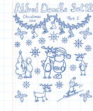 A Christmas collection of doodles Royalty Free Stock Photos
