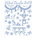 A Christmas collection of doodles Stock Photos