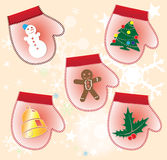Christmas collection of Gift gloves Royalty Free Stock Photography