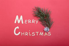 Christmas collection, gifts box, tree and decorative ornaments, on red background. Christmas collection, gifts box, tree and decorative ornaments, on red Stock Photography