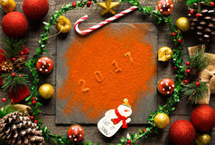 Christmas collection, gifts and decorative ornaments, Royalty Free Stock Photography