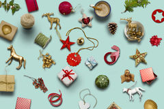 Christmas collection, gifts and decorative ornaments ... photogr Royalty Free Stock Image
