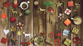 Christmas collection, gifts and decorative ornaments. photograph. Christmas collection, gifts and decorative ornaments, on tustic wooden background. photographic Stock Photos