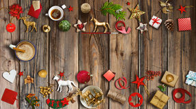 Christmas collection, gifts and decorative ornaments. photograph. Christmas collection, gifts and decorative ornaments, on tustic wooden background. photographic Stock Images