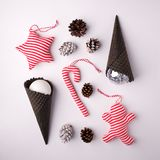 Christmas collection, gifts and decorative ornaments, on white background. stock images