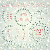 Christmas collection hand drawn branches design elements set. With abstract winter background Royalty Free Stock Image